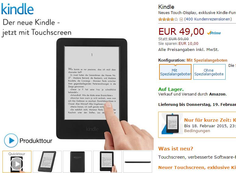 Kindle ab 49 EUR statt 59 EUR