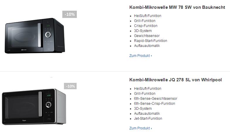 Mikrowellen mit Heißluft und Grill