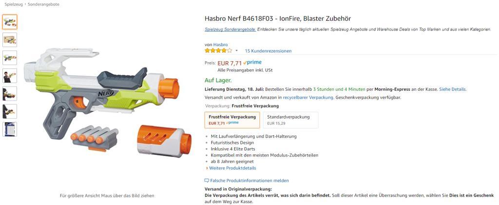 [Amazon Prime] wieder da Hasbro Nerf B4618F03 - IonFire, Blaster Zubehör