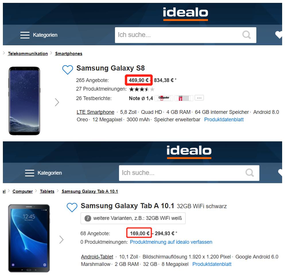 Samsung Galaxy S8 & Galaxy Tab A 10.1 32GB- Vodafone-Vertrag