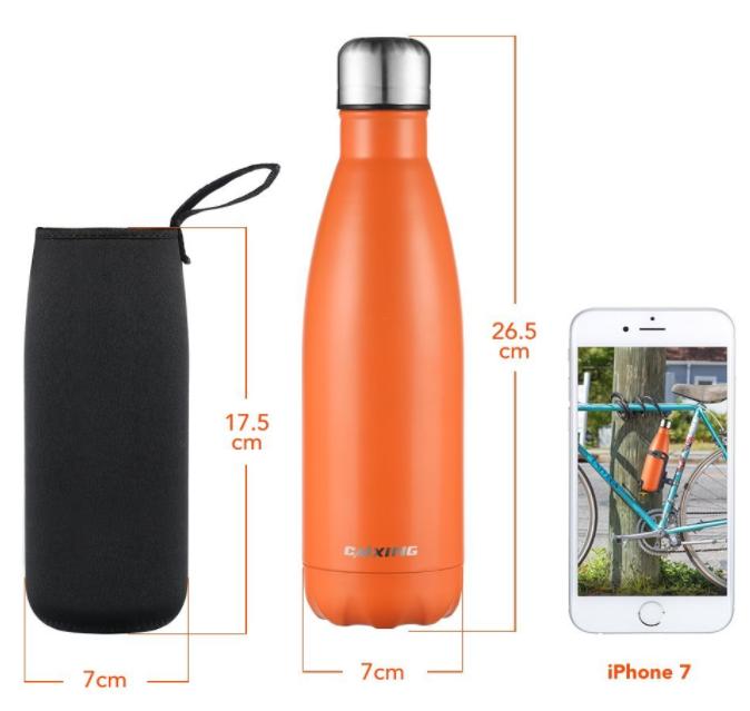 cmxing Doppelwandige Thermosflasche 500 mL/750 mL mit Tasche BPA-Frei