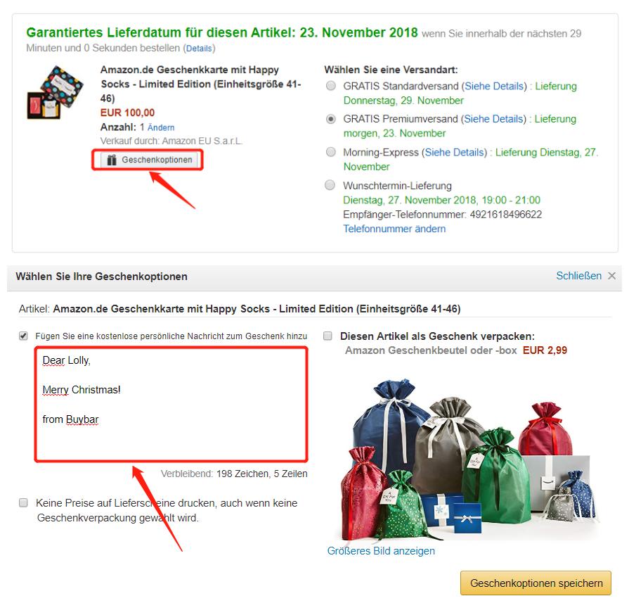 Amazon.de Geschenkkarte