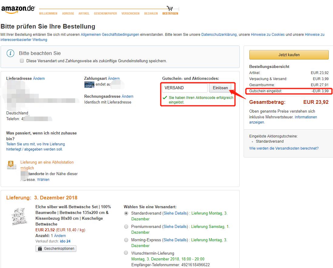 Amazon.de Aktionscode VERSAND