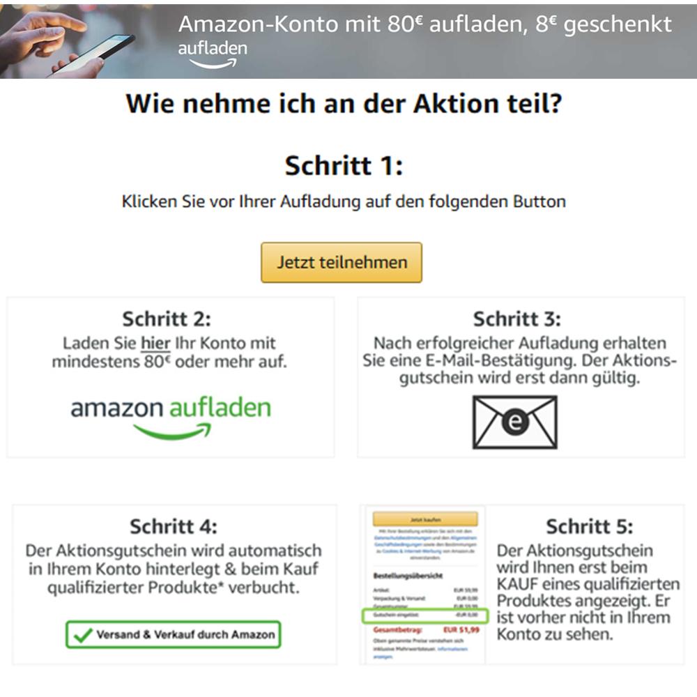 Amazon-Konto mit €80 Aufladung, €8 geschenkt